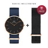DW 手錶 官方旗艦店 40mm玫瑰金框 Classic 星空藍織紋手錶 - Daniel Wellington