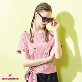 【SHOWCASE】甜美條紋睫毛刺繡腰綁帶連袖上衣(紅)