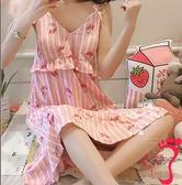 睡裙 吊帶睡裙女夏季棉質帶胸墊睡衣薄款可愛仙女風學生性感公主風裙子