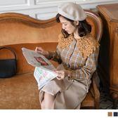 《AB8740》臧芮軒。高含棉配色格紋蕾絲領磨毛襯衫 OrangeBear