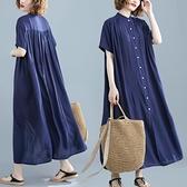 中大尺碼洋裝 洋氣時髦寬鬆大碼腰粗顯瘦文藝復古民族風時髦立領連身裙夏季新款