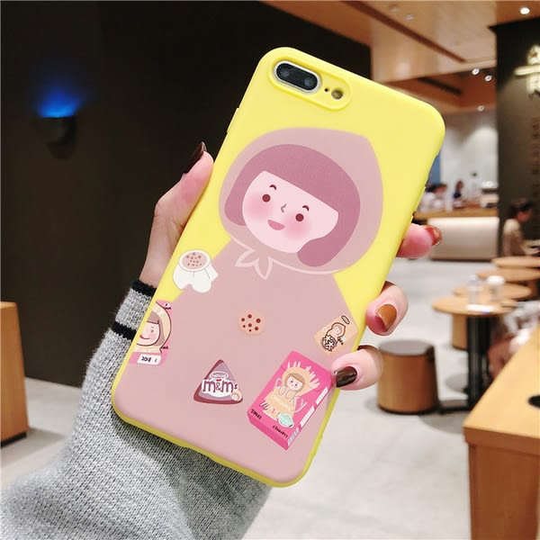可愛插畫女孩 iphone xs max 豬豬女孩手機殼 iphone 7 plus手機殼 iphone8手機殼 iphone xs手機殼