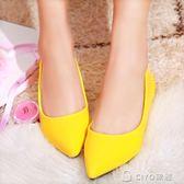 糖果色紅色婚禮鞋結婚鞋子黃色漆皮平底婚鞋尖頭淺口低跟大碼單鞋 ciyo黛雅