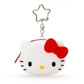 小禮堂 Hello Kitty 零錢包 矽膠 收納包 小物包 耳機包 吊飾 掛飾 大臉造型 (白) 4550337-40880