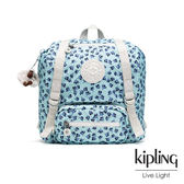Kipling 典雅淡藍小花雙扣翻蓋束口後背包-JOETSU S