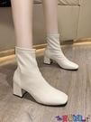 高跟短靴 短靴女高跟單靴2021秋冬新款尖頭粗跟裸靴中筒網紅瘦瘦靴彈力 618狂歡