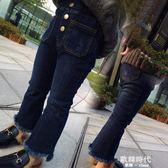 女童韓版歐美百搭水洗牛仔褲兒童修身加絨喇叭褲1953 歐韓時代