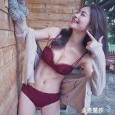 少女蕾絲花邊小胸文胸 紅色深V性感聚攏上托無鋼圈內衣套裝 金曼麗莎