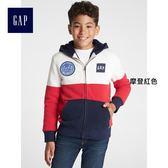 Gap男童 時代廣場系列印花Logo撞色長袖連帽運動衫 373341-摩登紅色