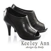 網路平台獨家6折★零碼出清★Keeley Ann羊皮雕花縷空高跟露趾羅馬涼鞋(黑色)-Ann系列