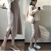 漂亮小媽咪 韓系 實拍 孕婦 半身裙 【S2122】坑條 針織 開岔 長裙 秋冬 針織裙 包臀裙