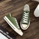 新款潮鞋夏季綠色帆布鞋女學生百搭韓版平底港味休閒鞋板鞋 雙12全館免運