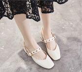 夏季韓版中跟方頭後空包頭涼鞋女粗跟單鞋