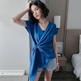 PINKYKIKI-V領造型綁結短袖涼感冰絲針織衫【C2004008】