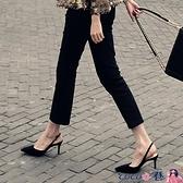 熱賣中跟涼鞋 后空單鞋女春秋季網紅尖頭法式少女高跟鞋細跟韓版包頭涼鞋女中跟【618 狂歡】