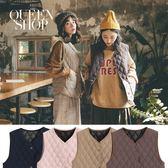 Queen Shop【02080032】同色線口袋造型菱格背心 四色售*現+預*