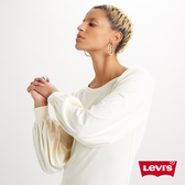 Levis 女款 長袖T恤 / 復古打摺泡泡袖 / 時尚豆腐色