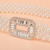 618好康鉅惠 新品時尚甜美女士珍珠串珠腰帶腰封裝飾