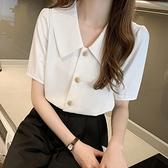 V領襯衫 法式復古襯衫女V領單排扣上衣夏季氣質職業白色雪紡襯衣-Ballet朵朵