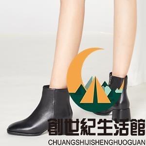 黑色粗高跟時裝鞋方頭瘦瘦靴短靴【創世紀生活館】