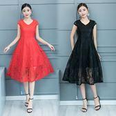 洋裝 連身裙 2019夏裝新品時尚簡約修身大擺裙純色顯瘦收腰中長蕾絲A字連衣裙