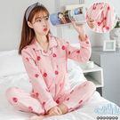 *孕味十足。孕婦裝*現貨+預購【CRH092520】花邊領滿版甜美草莓孕婦(側掀式)睡衣(腰圍可調) 兩色