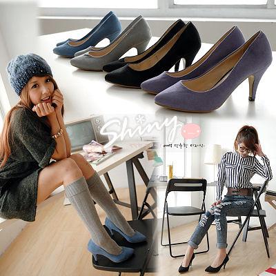 【A2810】shiny藍格子-素雅秋風.高雅純色絨面尖頭高跟鞋