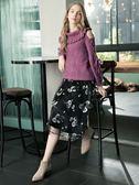 秋冬單一價[H2O]大翻領袖子綁帶設計泡泡袖圈圈紗毛衣 - 深藍/紫/米白色 #8630030