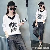 歐貨T恤女裝新款韓版寬鬆假兩件上衣打底衫2021年春秋V領白色長袖 七七小鋪