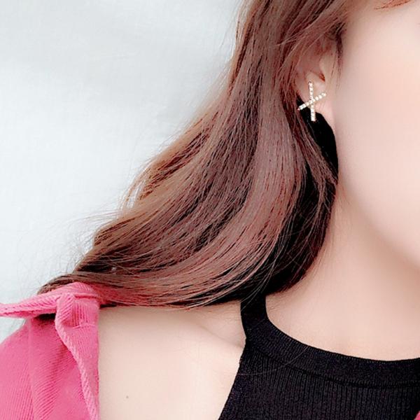 耳環 現貨 韓國氣質甜美百搭幾何交叉X水鑽925銀針 夾式耳環 S93318  批發價 Danica 韓系飾品