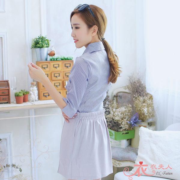 *衣衣夫人OL服飾店*【A33623】48-50吋 清新條紋附領巾七分袖襯衫( 紫)