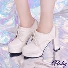鞋子 雕花鏤空綁帶粗跟鞋-Ruby s 露比午茶