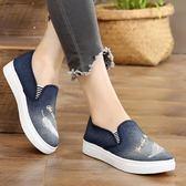 懶人人鞋 布鞋鞋 牛仔帆布鞋 孕婦單鞋休閒鞋平底一腳蹬鞋女