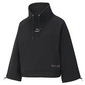 PUMA 上衣 衝鋒衣 黑 短版 立領 抽繩 內刷毛 棉T 衛衣 女 (布魯克林) 53029901