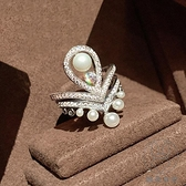 歐美925純銀疊戴組合戒指女時尚珍珠皇冠食指夸張【貼身日記】