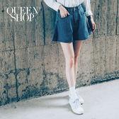 Queen Shop【04120012】後腰鬆緊A字褲管牛仔短褲 S/M*預購*