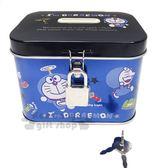 〔小禮堂〕哆啦A夢 方形鐵製存錢筒附鎖《藍黑.道具》撲滿.儲金筒 4901610-12876