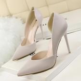 夏季 甜美糖果色尖頭高跟鞋細跟白色百搭側空 涼鞋黃色淺口女鞋