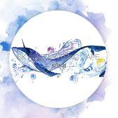 天空島特殊油墨鯨魚海和紙膠帶整卷水彩藍色海洋手帳日記貼紙手賬