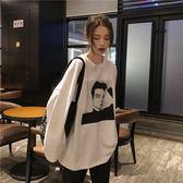 長袖T恤女2019春季新款韓版寬松學生百搭人物印花打底衫內搭上衣 後街五號
