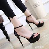 高跟涼鞋性感夜店細跟高跟鞋女夏時尚防水台黑色一字扣帶露趾涼鞋 金曼麗莎