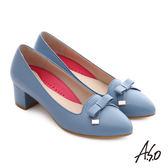 A.S.O 職場女力 綿羊皮蝴蝶結3D窩心中跟鞋  淺藍