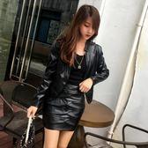 夾克  新款春秋皮衣套裝女短款韓版修身PU皮夾克包裙兩件套外套