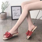 女鞋 拖鞋 蝴蝶結設計外穿時尚平底鞋 黑/米/綠/黃/紅 35-41