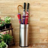 不銹鋼雨傘桶家用長柄雨傘瀝水架子創意歐式門廳大堂辦公室收納桶    ciyo黛雅
