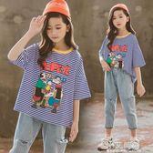 女童短袖T恤兒童2019夏裝新款韓版洋氣寬鬆純棉上衣中大童條紋女【小艾新品】