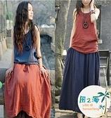 兩件式洋裝 夏棉麻連身裙套裝民族風寬鬆大碼文藝兩件套長裙亞麻女裝【風之海】