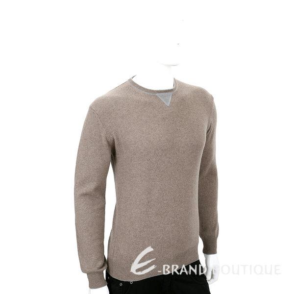 FRADI 淺咖色肘拼接設計羊毛長袖上衣 1540395-A2