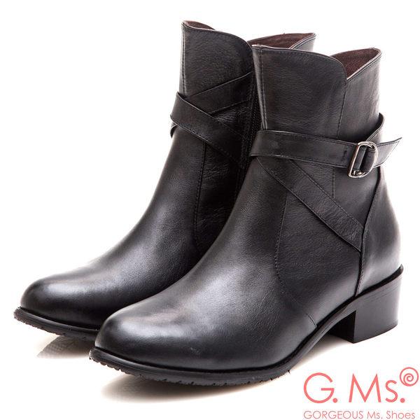 G.Ms. MIT系列-牛皮交叉皮帶釦短靴*黑色