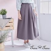 【Tiara Tiara】簡約優雅單色百摺半身裙(灰/黑) 漢神獨家